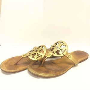 Tory Burch Miller Gold Pebbled Sandals
